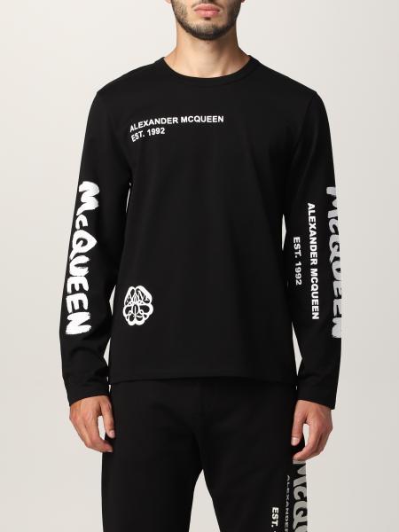T-shirt Alexander McQueen con stampa teschio tipografica