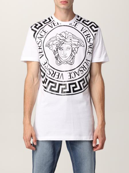 Versace men: Versace cotton t-shirt with logo