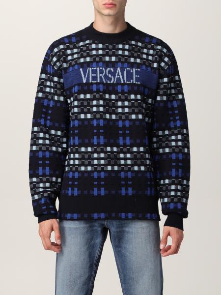 Versace men: Versace checked virgin wool sweater