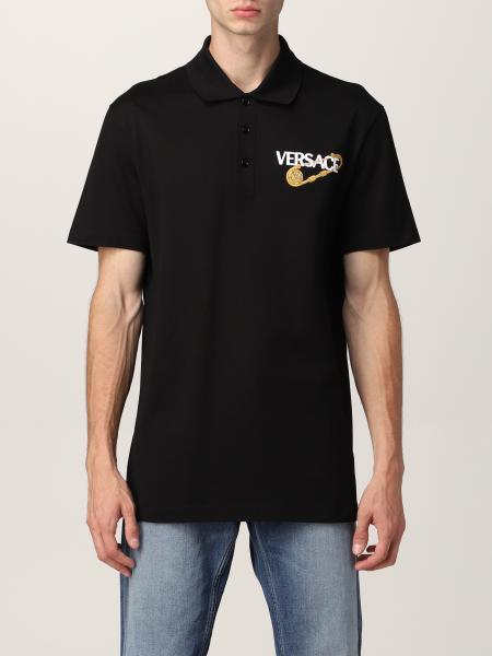 Versace men: Versace polo shirt in pique cotton