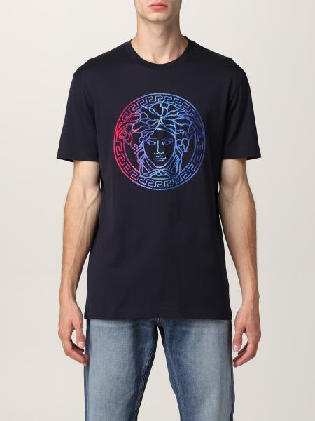 Versace men: Versace cotton T-shirt with embroidered logo