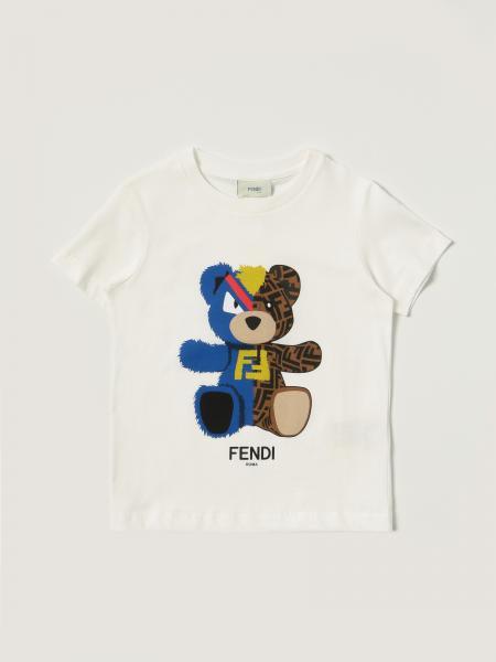 T-shirt Fendi in cotone con orsetto