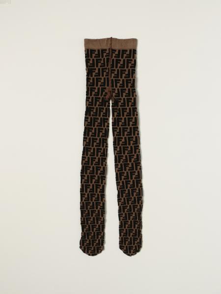 Collant Fendi in nylon con logo FF intarsiato all over