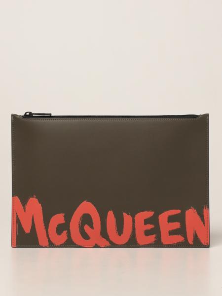 Pochette Alexander McQueen in pelle con logo Graffiti