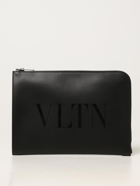 Portadocumenti Valentino Garavani in pelle con logo VLTN