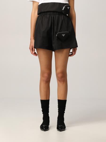 Prada: Pantaloncino jogging Prada in nylon con pochette