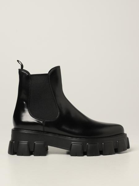 Monolith Prada ankle boot in brushed leather