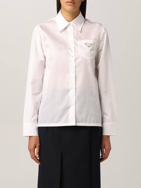 Camicia Prada in popeline con logo triangolare