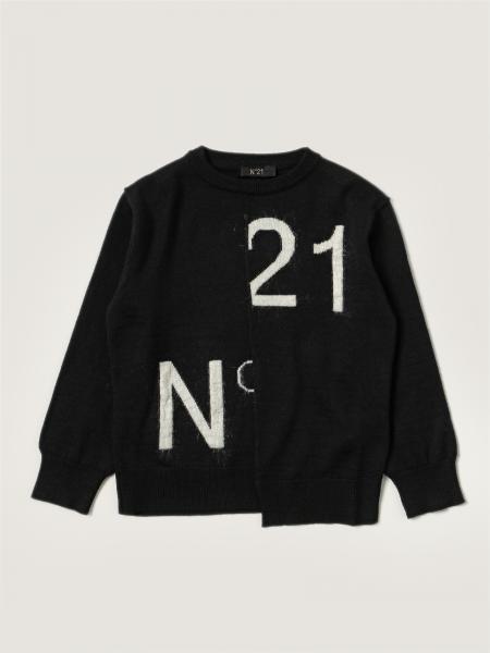 N ° 21 asymmetrical jumper with big logo