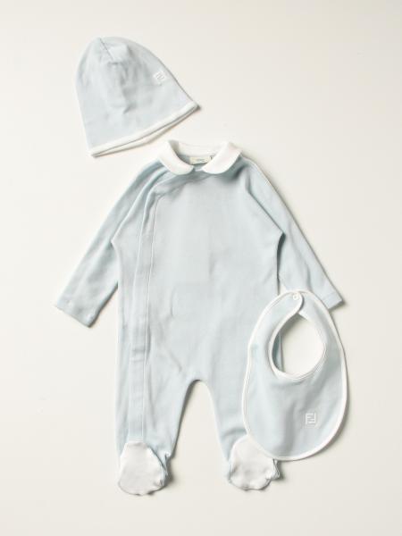 Fendi jumpsuit + bib + beanie hat set