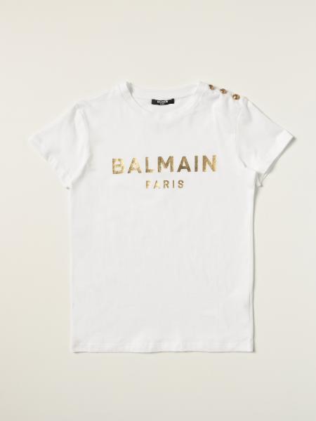 Balmain: Balmain cotton T-shirt with laminated logo