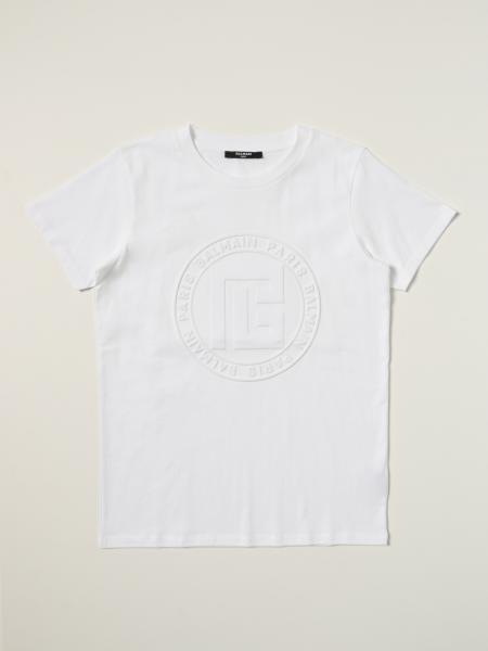 T-shirt Balmain in cotone con logo embossed