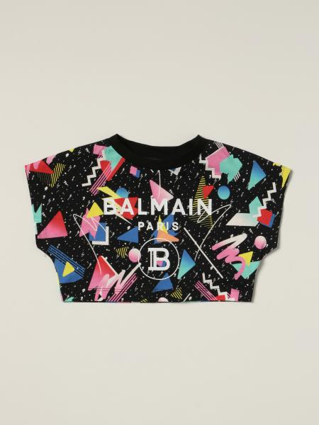 T-shirt cropped Balmain in cotone stampato