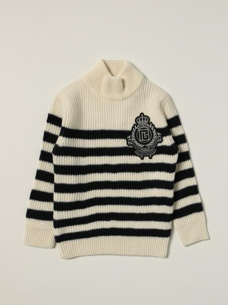 Balmain striped pullover with crest