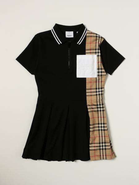 Burberry polo dress in cotton piqué with check detail