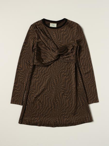 Fendi viscose dress with all-over monogram