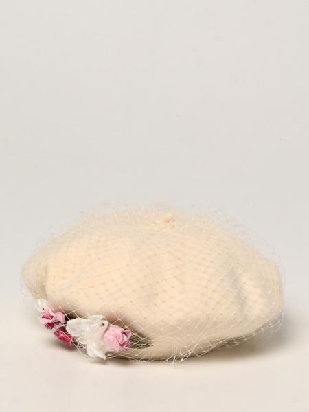 Monnalisa fishnet hat with floral applications