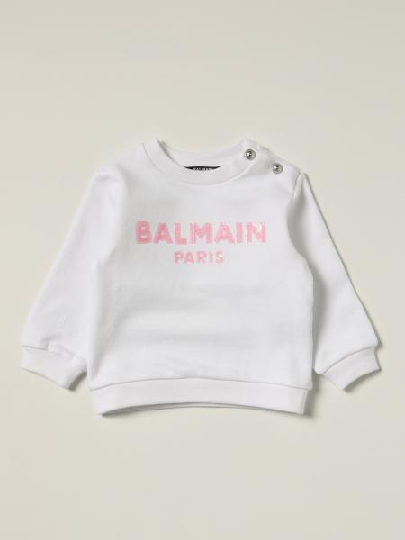 Balmain bambino: Felpa Balmain in cotone con logo di paillettes