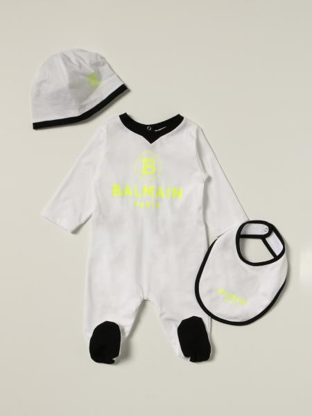 Balmain: Balmain cotton onesie + bib + hat set