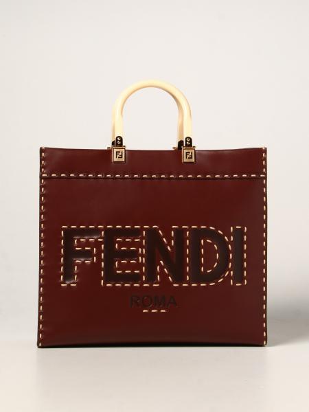 Fendi donna: Borsa Sunshine Fendi in pelle con big logo Fendi Roma