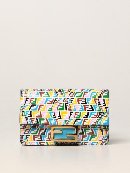 Fendi donna: Borsa Baguette Fendi in pelle con logo FF Vertigo multicolor