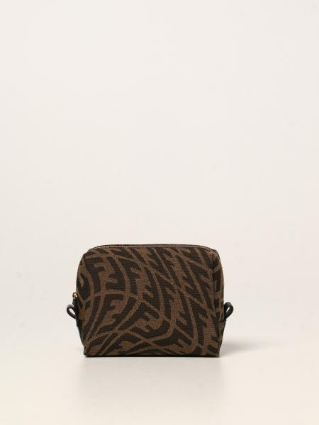 Fendi donna: Beauty case Fendi in tessuto con logo Vertigo
