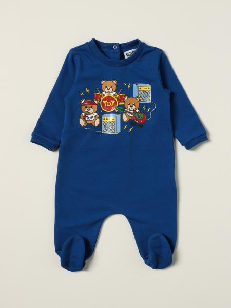 Moschino Baby footed jumpsuit with teddy band