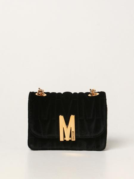 Moschino Couture bag in matelassé velvet with logo