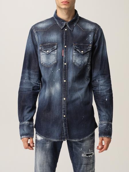 Camicia Dsquared2 in denim di cotone washed