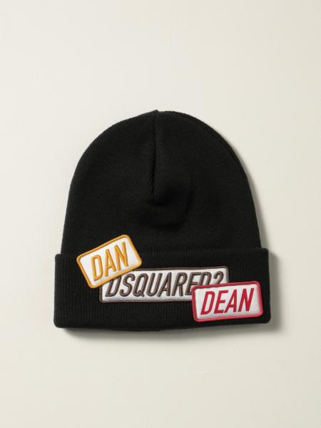 Dsquared2 men: Dsquared2 beanie hat in wool with logo patches