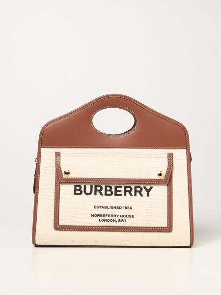 Burberry women: Burberry Pocket bag in canvas and leather