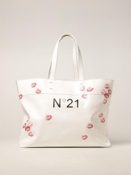 N ° 21 bag in synthetic leather with kiss print