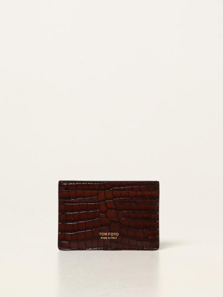 Porta carte di credito Tom Ford in pelle stampa coccodrillo