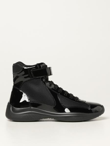 Prada men: Prada sneakers in patent leather and bike fabric