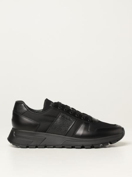 Prada men: Prada sneakers in leather with saffiano panels