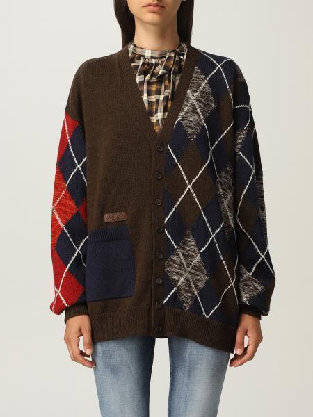 Cardigan Dsquared2 in lana con motivo a losanghe