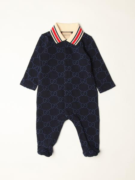 Gucci: Gucci footed jumpsuit in cotton with all over logo