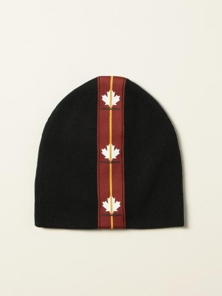 Dsquared2 men: Dsquared2 beanie hat with band and maple leaves