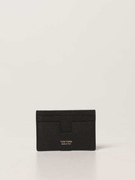 Porta carte di credito Tom Ford in pelle martellata