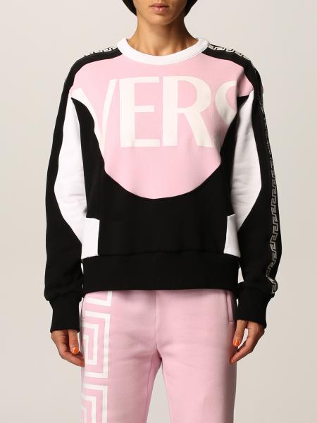 Felpa Versace in cotone con logo e Greca