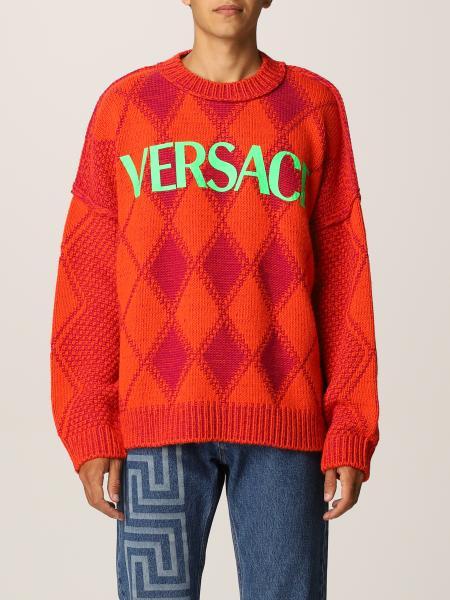 Versace men: Versace jumper in wool and Alpaca blend with rhombuses
