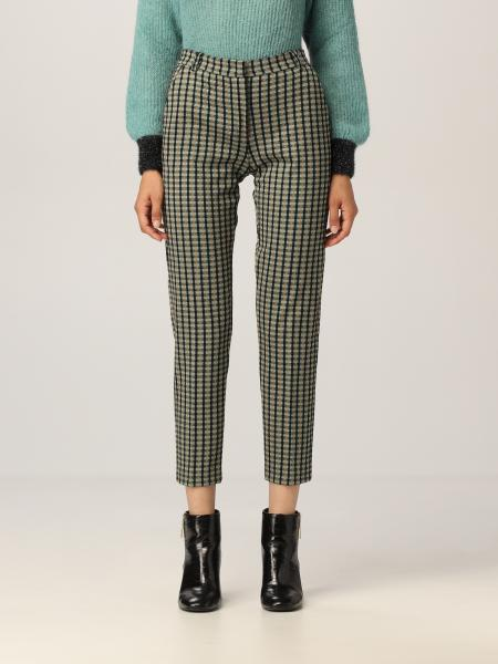 Pinko cigarette fit trousers with tweed motif