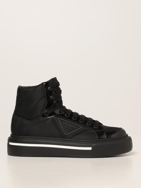 Prada men: Prada sneakers in brushed leather and Re-nylon