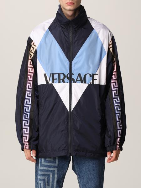 Versace men: Versace nylon jacket with Greca motif