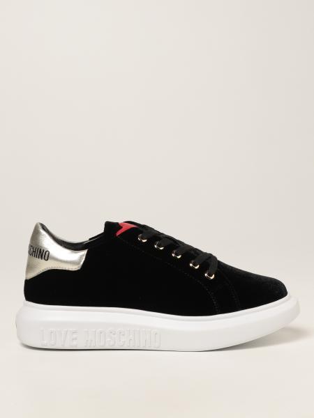 Love Moschino: Sneakers stringata Love Moschino in velluto con cuore