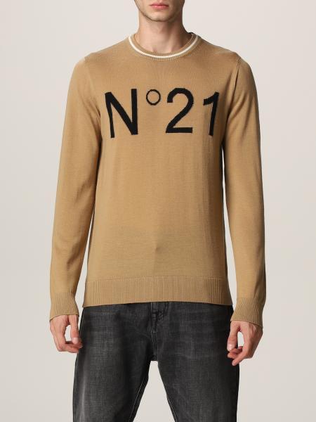 Maglia N° 21 in lana vergine con logo intarsiato