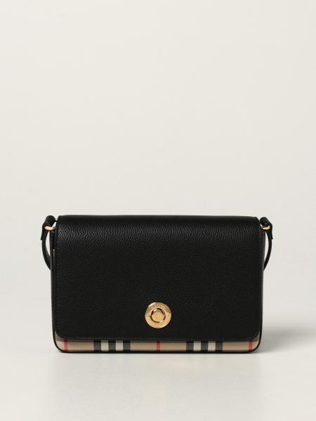Burberry women: Burberry crossbody bag in leather and check canvas