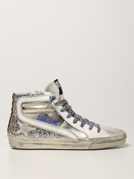 Sneakers Slide Golden Goose in pelle e glitter