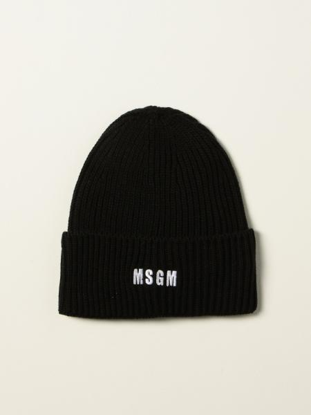 Msgm beanie hat with embroidered logo