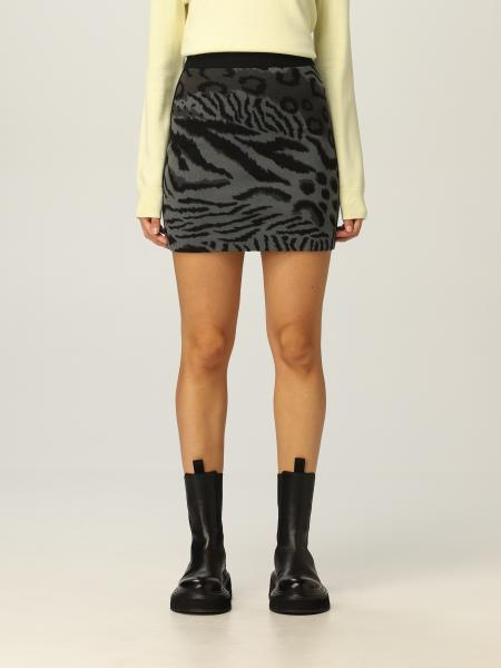 Kenzo donna: Gonna mini Kenzo in lana e cotone animalier